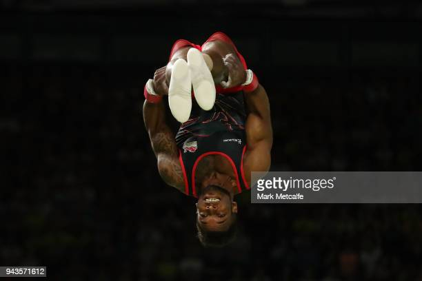Courtney Tulloch of England competes in the MenÕs Vault Final during Gymnastics on day five of the Gold Coast 2018 Commonwealth Games at Coomera...