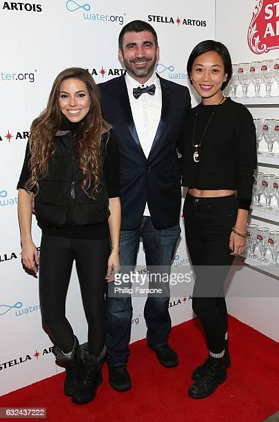 Courtney Turk and producers Matthew J Malek and Anita Gou attend the To The Bone Premiere Party at the Stella Artois Filmmaker Lounge on January 22...
