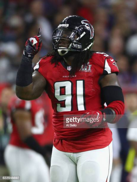Courtney Upshaw of the Atlanta Falcons reacts after a sack in the first quarter against the New England Patriots during Super Bowl 51 at NRG Stadium...