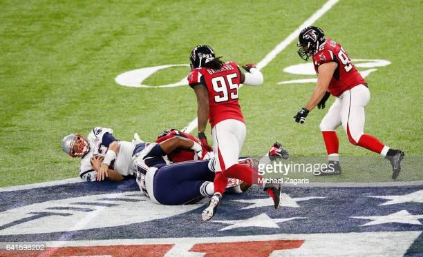 Courtney Upshaw of the Atlanta Falcons sacks Tom Brady of the New England Patriots during Super Bowl 51 at NRG Stadium on February 5 2017 in Houston...