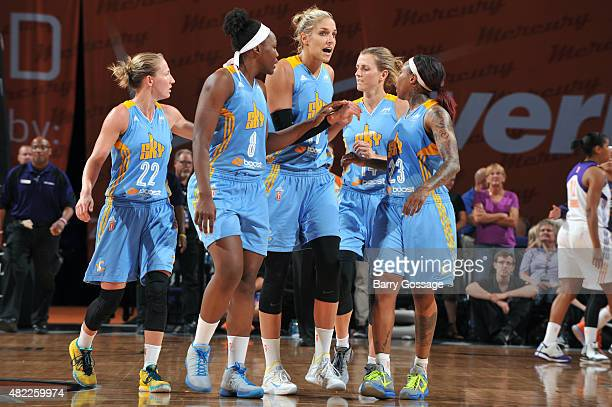 Courtney Vandersloot Clarissa Dos Santos Elena Delle Donne Allie Quigley and Cappie Pondexter of the Chicago Sky walk back to their bench during a...