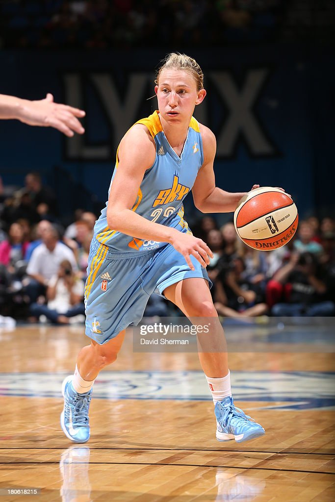 Courtney Vandersloot #22 of the Chicago Sky dribbles the ball against the Minnesota Lynx during the WNBA game on September 14, 2013 at Target Center in Minneapolis, Minnesota.