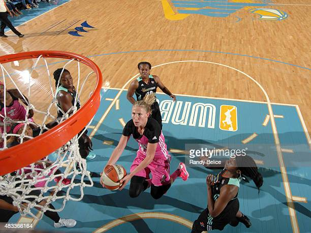 Courtney Vandersloot of the Chicago Sky drives to the basket against the New York Liberty on August 4 2015 at the Allstate Arena in Rosemont Illinois...