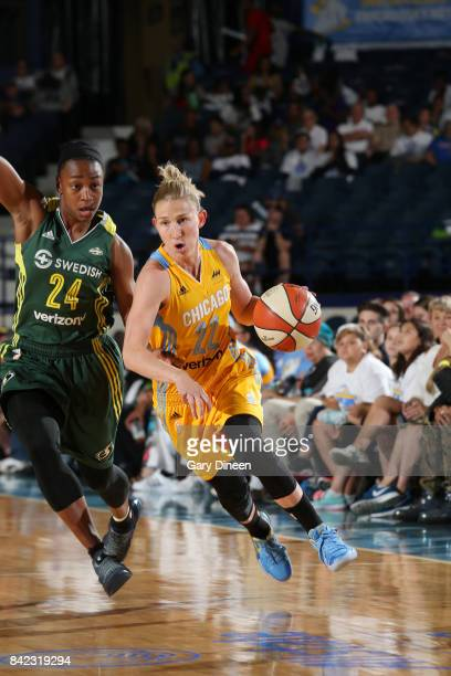 Courtney Vandersloot of the Chicago Sky handles the ball against the Seattle Storm on September 3 2017 at Allstate Arena in Rosemont IL NOTE TO USER...