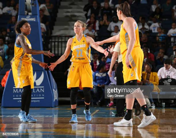Courtney Vandersloot of the Chicago Sky shakes hands with teammates during the game against the Seattle Storm on September 3 2017 at Allstate Arena...