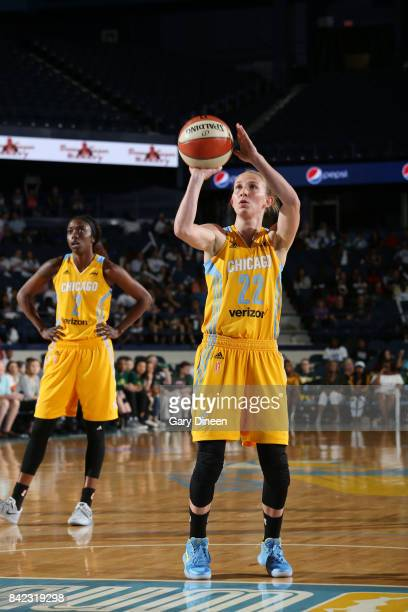Courtney Vandersloot of the Chicago Sky shoots a free throw against the Seattle Storm on September 3 2017 at Allstate Arena in Rosemont IL NOTE TO...