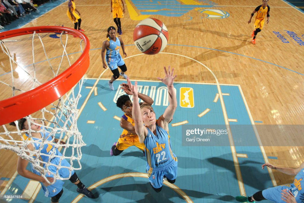 Courtney Vandersloot #22 of the Chicago Sky shoots the ball against the Los Angeles Sparks on August 18, 2017 at Allstate Arena in Rosemont, IL.