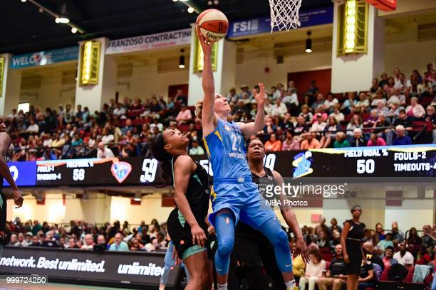 Courtney Vandersloot of the Chicago Sky shoots the ball against the New York Liberty on July 15 2018 at Westchester County Center in White Plains New...