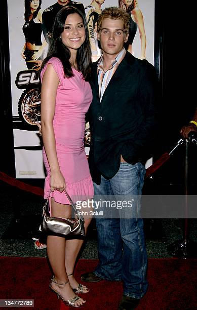 Courtney Vogel and Mike Vogel during Supercross Los Angeles Premiere Red Carpet at Veterans Administration Complex in Westwood California United...