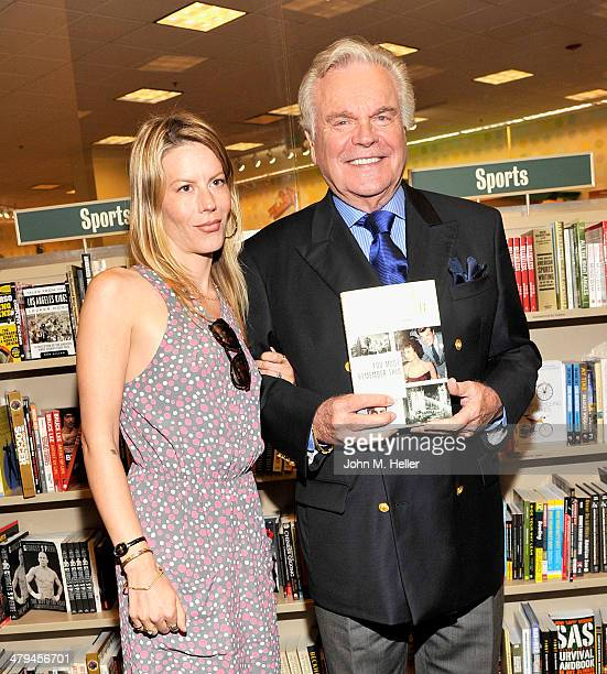 Courtney Wagner and actor Robert J Wagner attend a book signing for her father's new book You Must Remember This at the Barnes Noble bookstore at The...