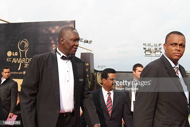 Courtney Walsh and Joel Garner during the ICC Annual Awards at the Red Carpet on October 6 2010 in Bangalore India