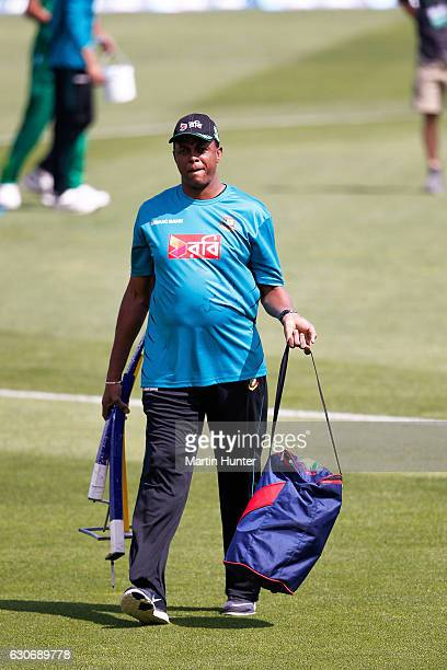 Courtney Walsh Bangladesh bowling coach former West Indies cricket captain looks on prior to the third One Day International match between New...