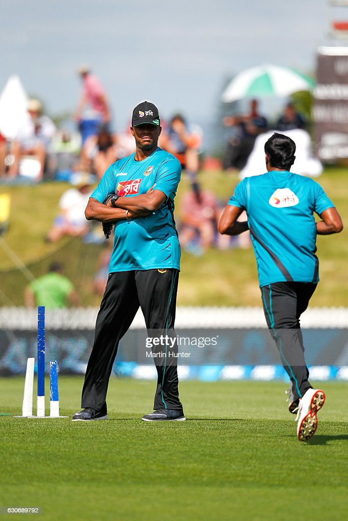 Courtney Walsh, Bangladesh bowling coach & former West Indies cricket captain looks on prior to the third One Day International match between New Zealand and Bangladesh at Saxton Field on December 31, 2016 in Nelson, New Zealand.