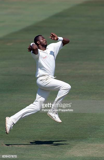 Courtney Walsh bowling for West Indies during the 2nd Test match between England and West Indies at Lord's Cricket Ground London 22nd June 1995