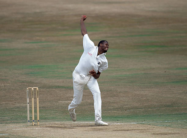 Courtney Walsh bowling for West Indies during the 5th Test match between England and West Indies at Trent Bridge Nottingham 13th August 1995