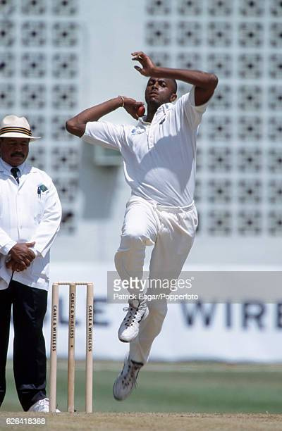 Courtney Walsh bowling for West Indies during the 5th Test match between West Indies and England at the Kensington Oval Bridgetown Barbados 12th...
