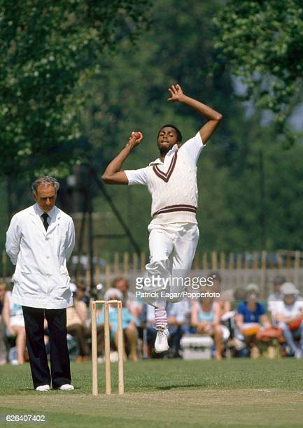 Courtney Walsh bowling for West Indies during the tour match between Northamptonshire and the West Indians at Manor Fields Bletchley 9th June 1984...