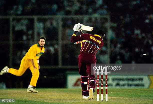 Courtney Walsh of the West Indies is bowled by Damien Fleming of Australia taking them to the final during the Cricket World Cup semifinal match...