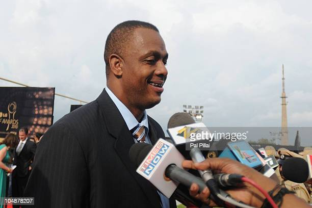 Courtney Walsh of West Indies talks to the Media outside the Venue before the ICC Annual Awards at the Grand Castle on October 6 2010 in Bangalore...