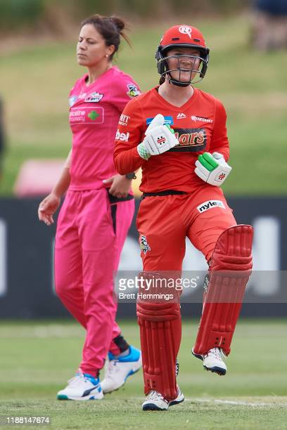 Courtney Webb of the Renegades celebrates victory after hitting a 6 on the final ball during the Women's Big Bash League match between the Sydney...