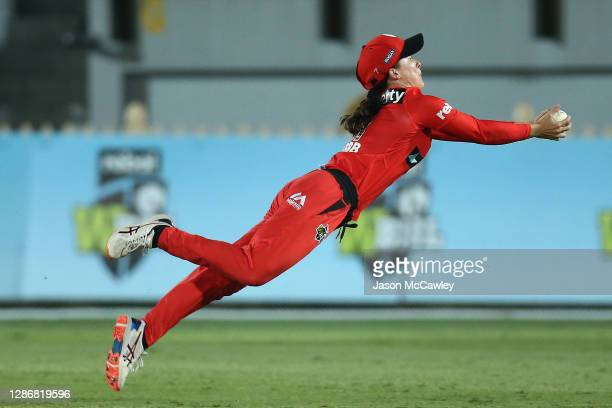Courtney Webb of the Renegades takes a catch to dismiss Ellyse Perry of the Sixers during the Women's Big Bash League WBBL match between the Sydney...