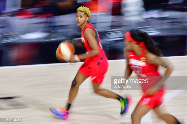 Courtney Williams of the Atlanta Dream dribbles up the court during a game against the Dallas Wings at Feld Entertainment Center on August 08, 2020...