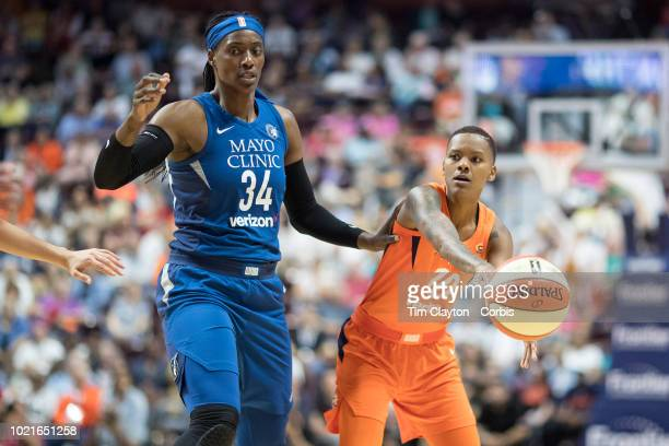 Courtney Williams of the Connecticut Sun defended by Sylvia Fowles of the Minnesota Lynx during the Connecticut Sun Vs Minnesota Lynx WNBA regular...