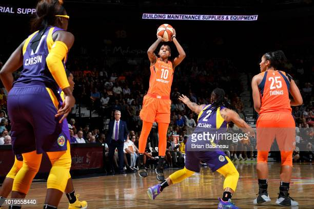 Courtney Williams of the Connecticut Sun shoots the ball against the Los Angeles Sparks on August 19 2018 at the Mohegan Sun Arena in Uncasville...