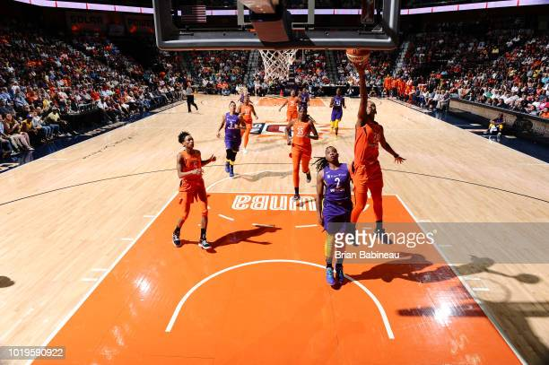 Courtney Williams of the Connecticut Sun stb against the Los Angeles Sparks on August 19 2018 at the Mohegan Sun Arena in Uncasville Connecticut NOTE...