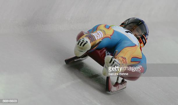 Courtney Zablocki of the United States of America competes in the Womens Luge Single Final on Day 4 of the 2006 Turin Winter Olympic Games on...