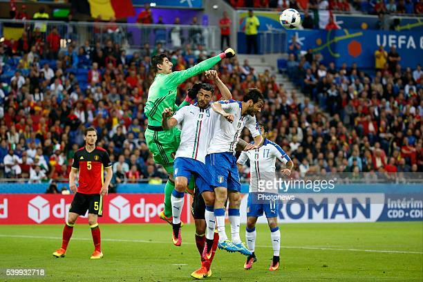 Courtois Thibaut goalkeeper of Belgium during the UEFA EURO 2016 match group E between Belgium and Italy at the Stade de Lyon on June 13 2016 in...