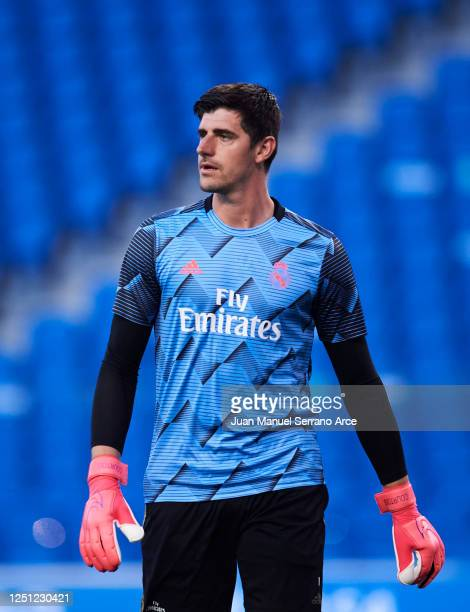 Courtois Thibaut of Real Madrid CF warms up during the La Liga match between Real Sociedad and Real Madrid CF at Estadio Anoeta on June 21, 2020 in...