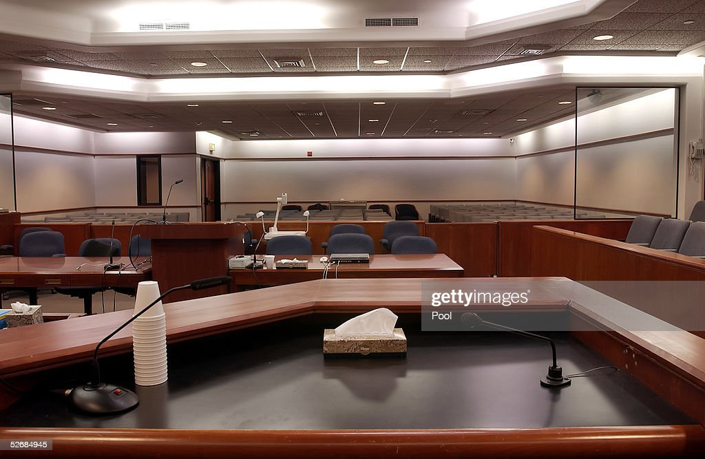 Courtroom as seen from the witness stand at the Santa Barbara County Courthouse where the child molestation trial of US pop star Michael Jackson is being held April 22, 2005 in Santa Maria, California.