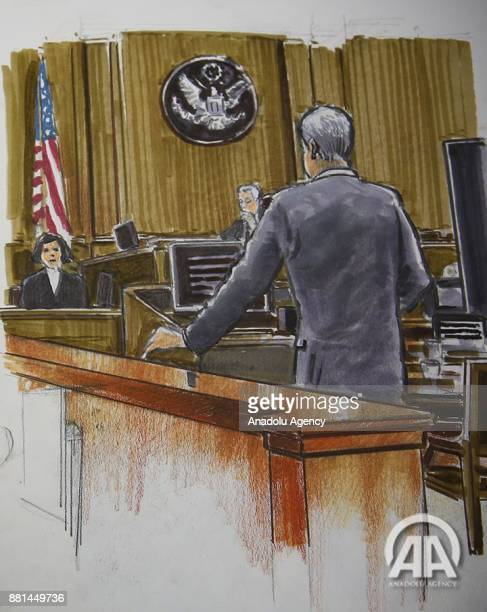 A courtroom drawing shows David Denton the deputy prosecuting attorney US District Judge Richard Berman and Lisa Palluconi a sanctions coordinator on...