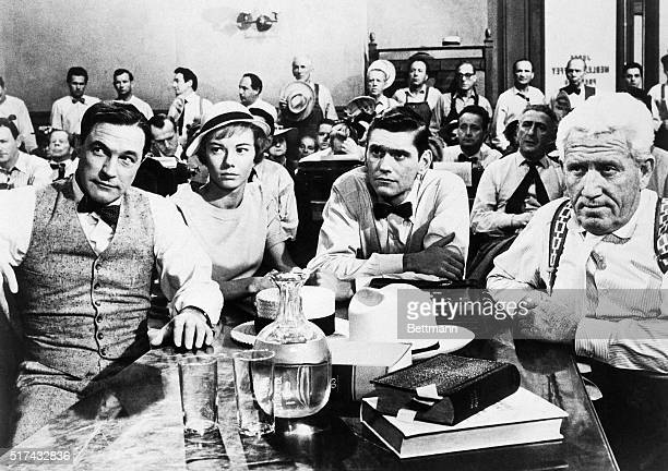 A courtroom scene from the film Inherit the Wind with Gene Kelly Donna Anderson Dick York and Spencer Tracy