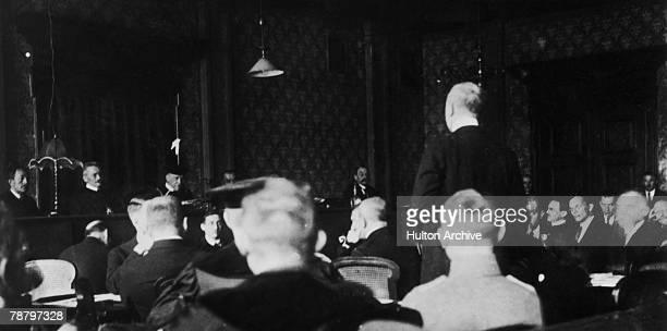 A courtroom scene on 3rd March 1924 during the treason trial of German Nazi leader Adolf Hitler and General Erich Ludendorff following the...