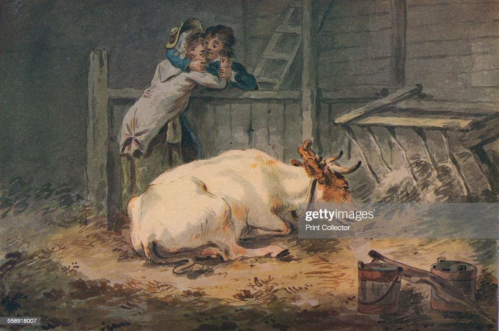 'Courtship in a Cowshed', c18th century. Artist: Julius Caesar Ibbetson. : Fotografia de notícias