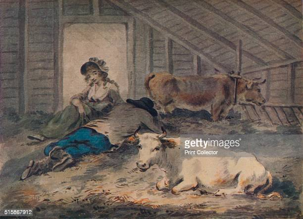Courtship in a Cowshed' circa 1801 Painting held at the Lady Lever Art Gallery Liverpool From The Connoisseur Volume XC [The Connoisseur Ltd London...