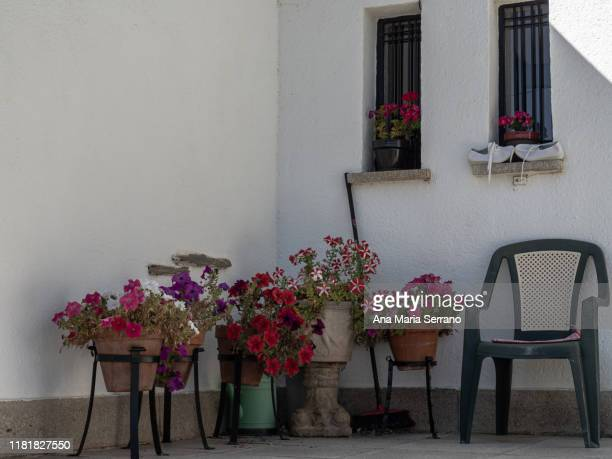 courtyard facade of a house with narrow windows and flower pots in full color and an empty plastic chair - midsommarblomster bildbanksfoton och bilder
