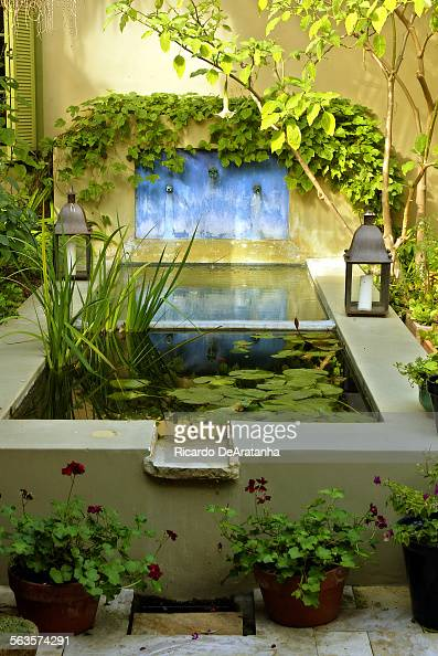 Courtyard Fountain In Santa Monica Home