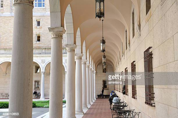 courtyard in boston public library - copley square stock-fotos und bilder