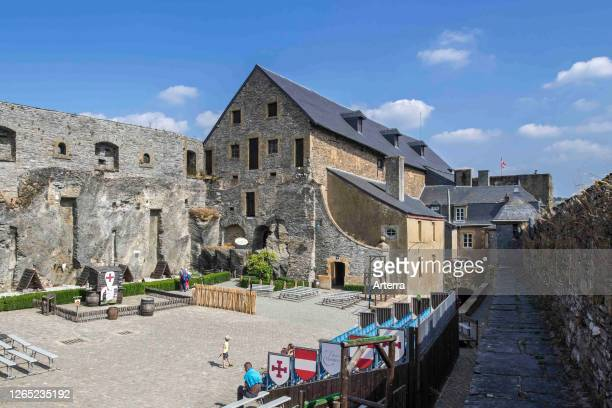 Courtyard in the medieval Chateau de Bouillon Castle, Luxembourg Province, Belgian Ardennes, Belgium.