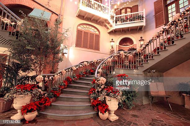 courtyard night scene - southern christmas stock pictures, royalty-free photos & images