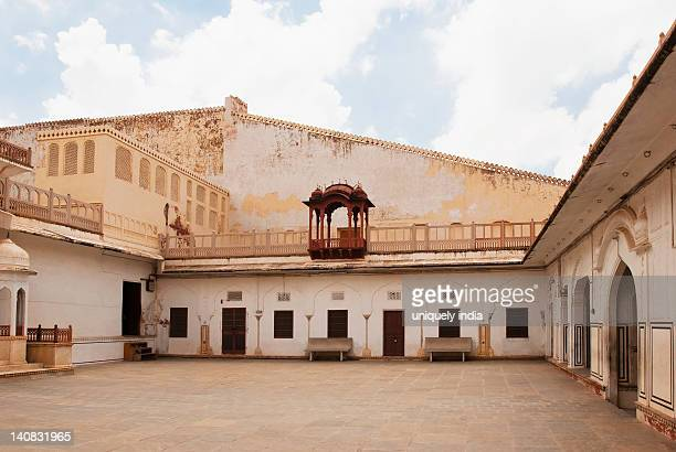 courtyard of a palace, hawa mahal, jaipur, rajasthan, india - monument stock pictures, royalty-free photos & images