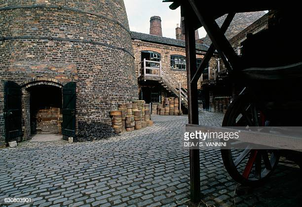 Courtyard of Gladstone Pottery Museum in an old ceramics factory founded in the 18th century StokeonTrent Staffordshire United Kingdom