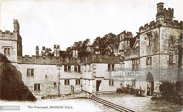 Courtyard of Haddon Hall, near Bakewell, Derbyshire, c1918. Haddon Hall is the finest example of a medieval manor house currently in existence in...