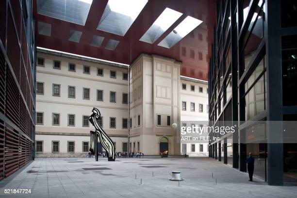 courtyard of museo nacional centro de arte reina sofia - museo nacional centro de arte reina sofia stock pictures, royalty-free photos & images