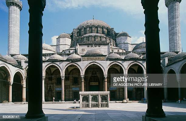 Courtyard of Suleymaniye mosque 15501557 historic centre of Istanbul Turkey 16th century