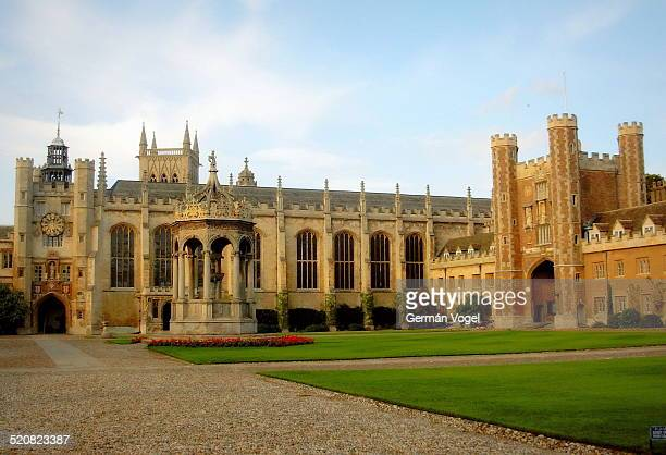 Courtyard of the Cambridge University Trinity College and its Gothic Revival architecture.