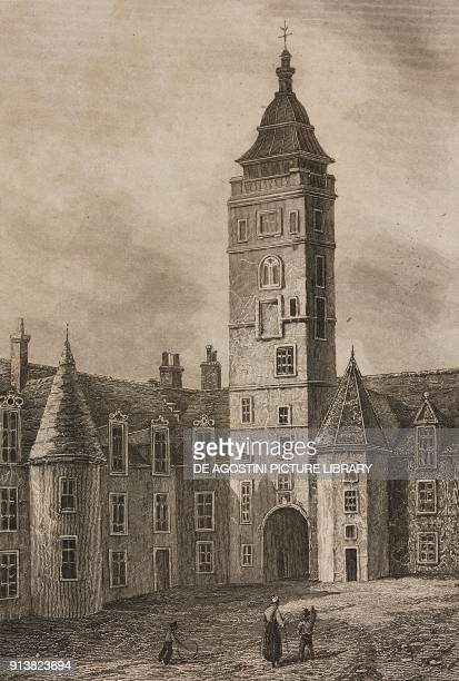 Courtyard of the Glasgow University Scotland United Kingdom engraving by Skelton from Angleterre Ecosse et Irlande Volume IV by Leon Galibert and...
